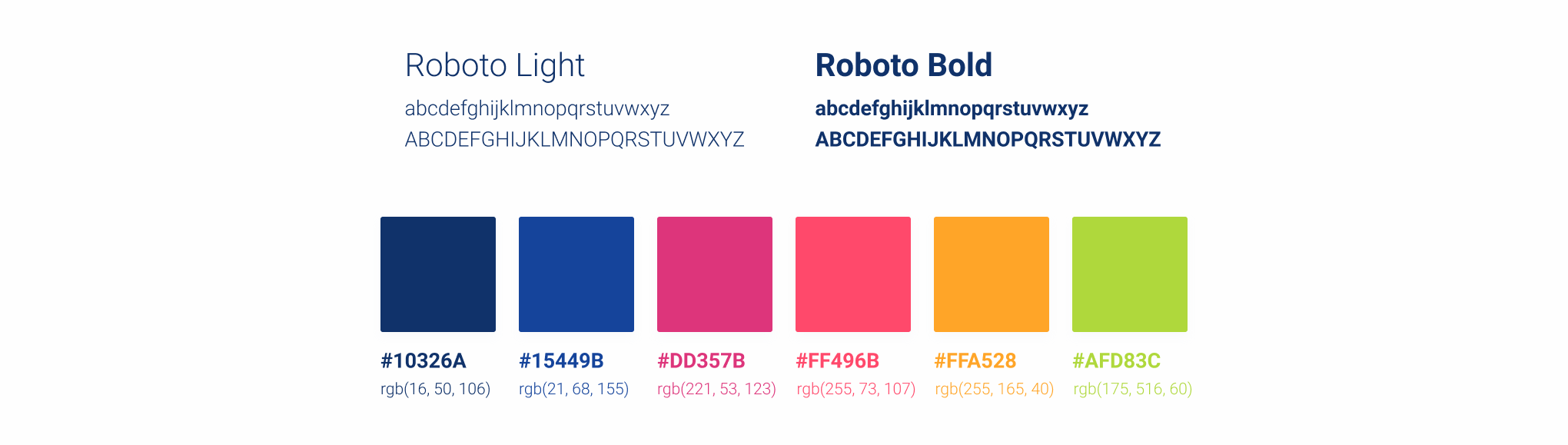 Styleguide fonts and colors